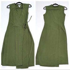 Old Navy Green Sleeveless  Wrap Dress Medium